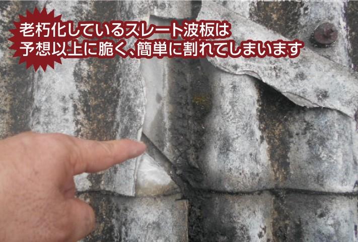 老朽化しているスレート波板