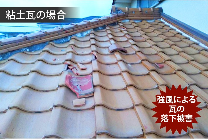 強風による瓦の落下被害