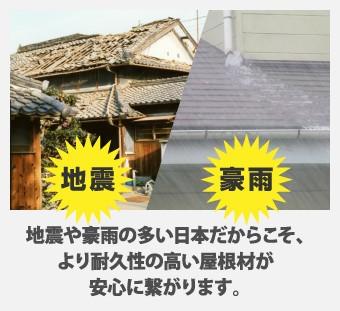 地震や豪雨の多い日本だからこそ、 より耐久性の高い屋根材が 安心に繋がります。