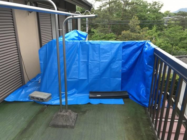 雨漏りしている屋根養生