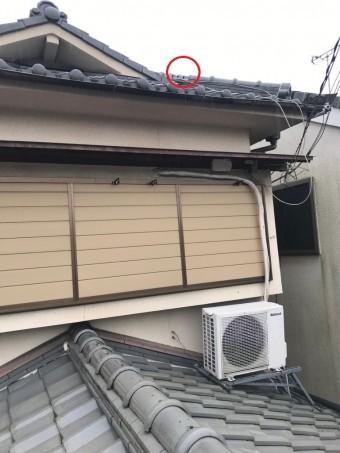 高屋根の隅棟確認