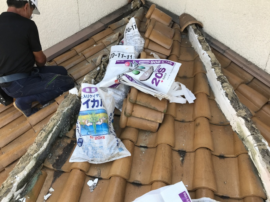 大津市坂本の台風に遭ったS型瓦屋根の修理完了