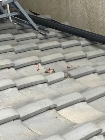 下屋根の平面瓦破損確認