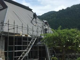 屋根足場組み